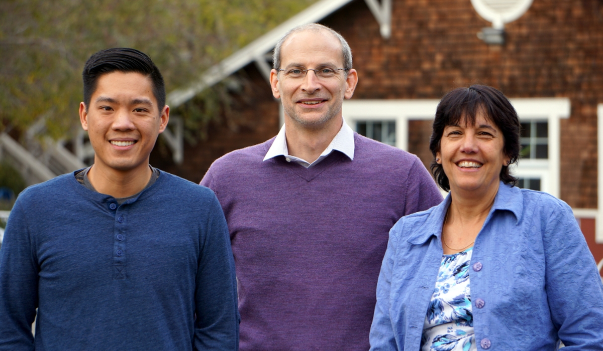 Graduate student Phil Yuen with Professor Sheila David and their collaborator, Dr. Brandt Eichman.